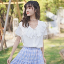 Chic Khaki Summer 2020 New Western Style Doll Collar Shirt Women's Short Sleeve Ruffled Super-Fairy