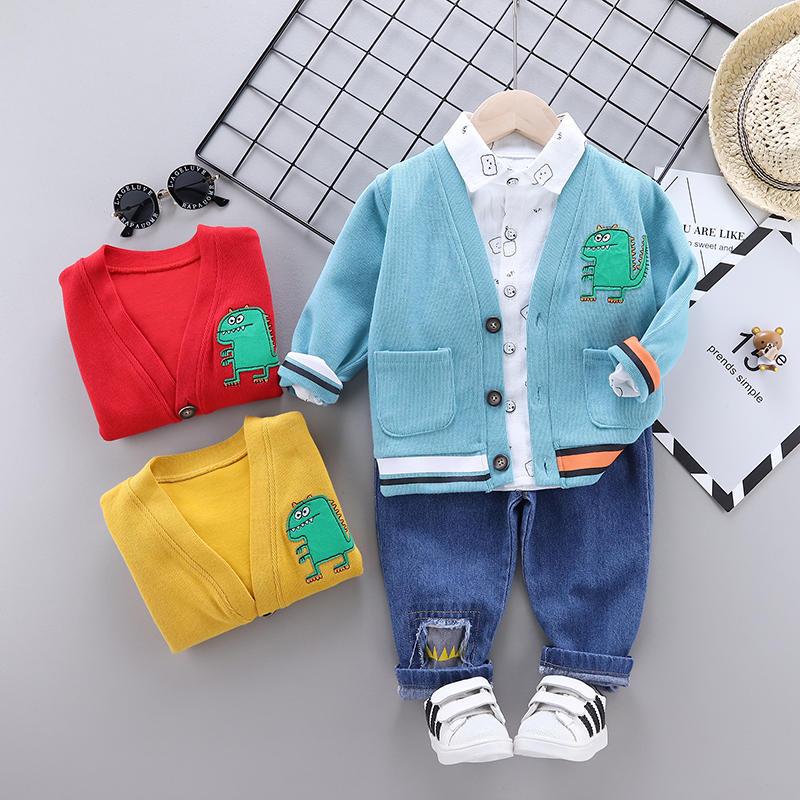 Ropa de moda para niños, traje de primavera y otoño, chaqueta para niños y niñas, pantalones de camisa, 3 unids/set, ropa deportiva infantil para bebés
