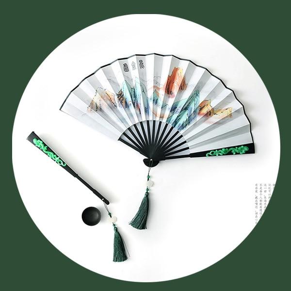 Kunlun-ventilador chino plegable para decoración, accesorios De televisión, De seda, De bambú,...