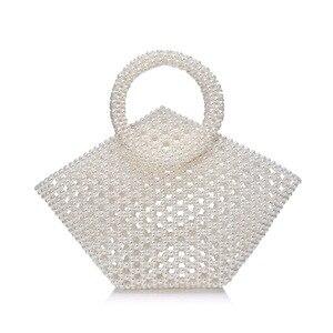 New Hand-woven Pearl Bag Female Messenger Bag Ins Popular Brand Evening Dress Handbags Banquet Banquet Wedding Handbag