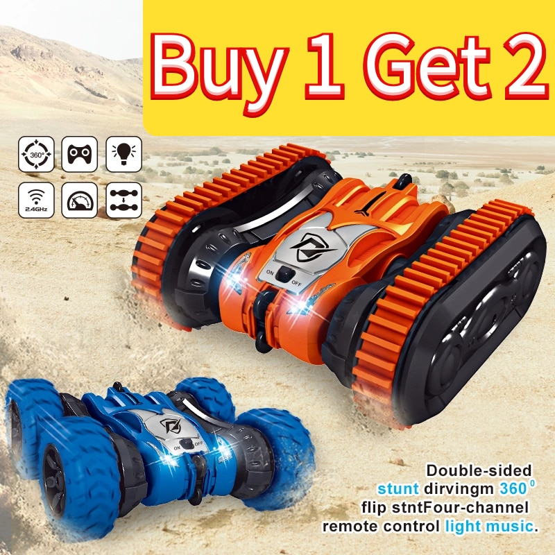 Stunt RC Car 4wd Water & Land 2in1 Remote Control Car 2.4G Double Side Flip Amphibious Drift Car Toy