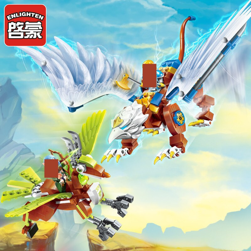 290Pcs Enlighten Building Blocks War of Glory Castle Knights LORD OF SKY 2 Figures Bricks Educational Toys for Children