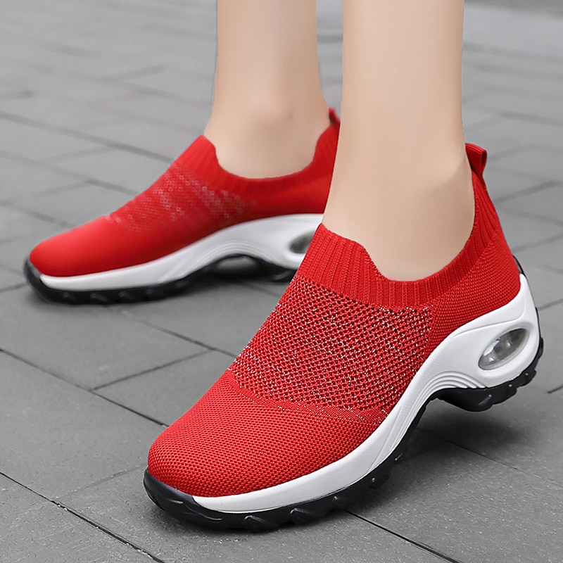 Tennis Shoes For Women 2021 Tenis Feminino Air Cushion Breathable Sneakers Slip on Outdoor Gym Sport Shoes Athletic Trainers