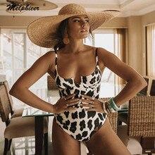 Melphieer Sport léopard numérique maillot de bain imprimé encolure dégagée une pièce maillot de bain femmes été filaire Monokinis maillots de bain maillot de bain XL