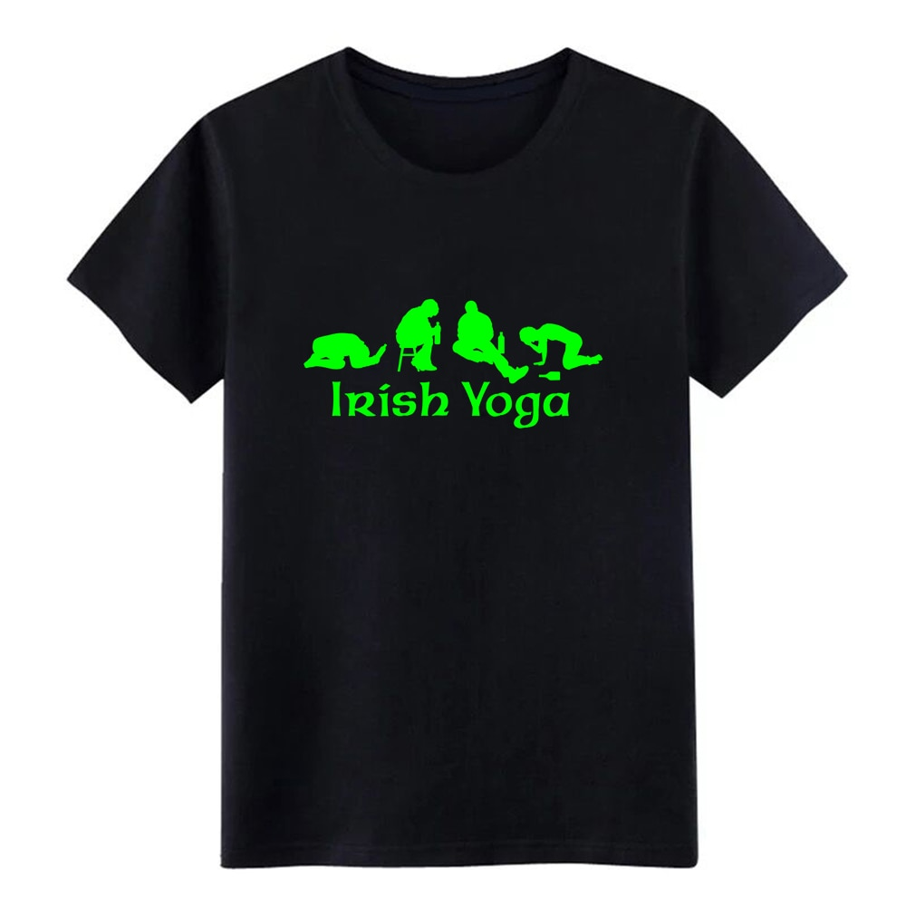 St Patricks Day Irish Yoga t shirt printed Short Sleeve round Neck Family Crazy Funny Spring Autumn Original shirt