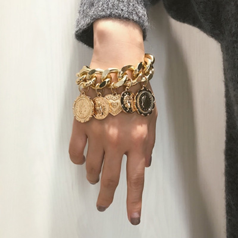 Dvacaman Retro 2/PCS Coin Heart Bracelets Women 2019 Fashion Charm Metal Circles Link Statement Bracelets Jewelry Party Gifts