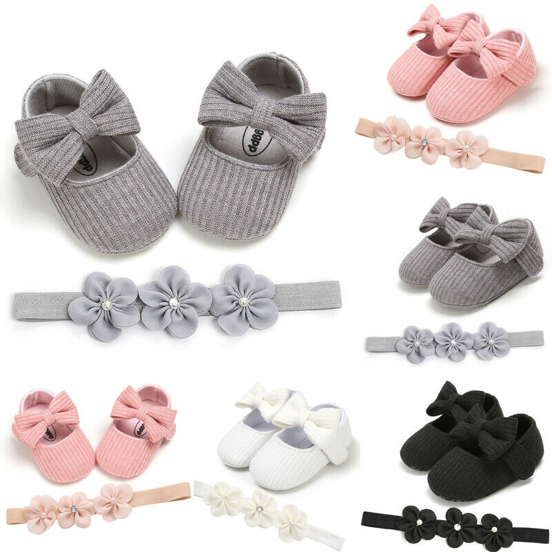 2 шт.; Милая однотонная обувь для маленьких девочек; Детская обувь с бантиком на мягкой подошве; Модельные туфли + повязка на голову