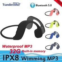IPX8 su geçirmez MP3 Bluetooth 5.0 kemik İletim yüzme kulaklık dahili hafıza kartı yüzme kulaklık mp3 çalar bluetooth32G