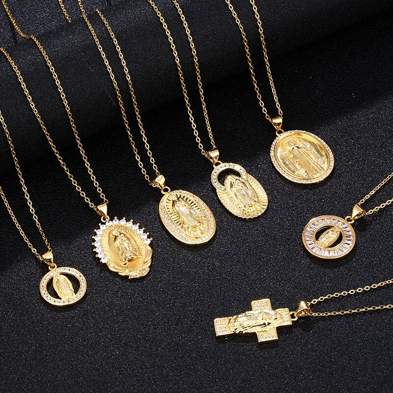 Moderno collar con colgante de circonita blanca, de acero inoxidable, para mujer, joyería religiosa