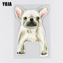 YOJA 11.1×16.5CM Hand Drawn Bulldog Rear Windshield Decoration Stickers Creative Cartoon Car Access