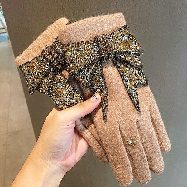 HD estilo coreano Bingbing cristal Ultra grande arco cachemir terciopelo de felpa se refiere dedos calientes guantes mujer invierno pantalla táctil