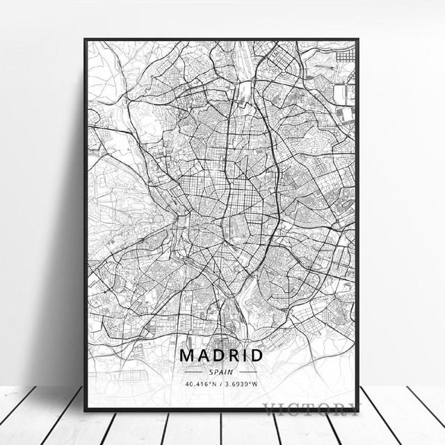 Madrid Vitoria-Gasteiz Albacete Santander Spain Map Poster Black and White Print Modern Art Canvas Painting Home Office Decor