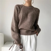 knit jacket tops female 2021 fashion o neck long sleeve ol thick warm winter pullover loose sweater for women gray khaki