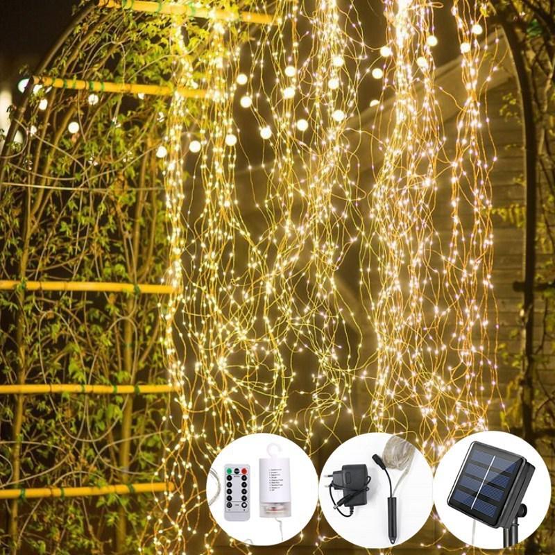 luzes de fadas movido a energia solar branco quente led fio cobre lampada como cachoeira