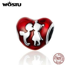 WOSTU Childhood Friendship Heart Beads 925 Sterling Silver Red Charm Fit Original DIY Bracelet Pendant Jewelry Making CQC1187