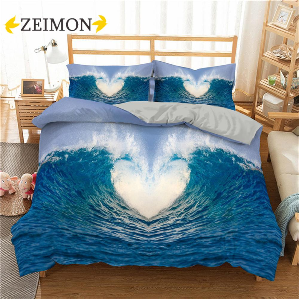 ZEIMON المحيط موجة المطبوعة طقم سرير القلب الغروب حاف الغطاء كامل الملكة التوأم السرير الملابس المخدة للكبار