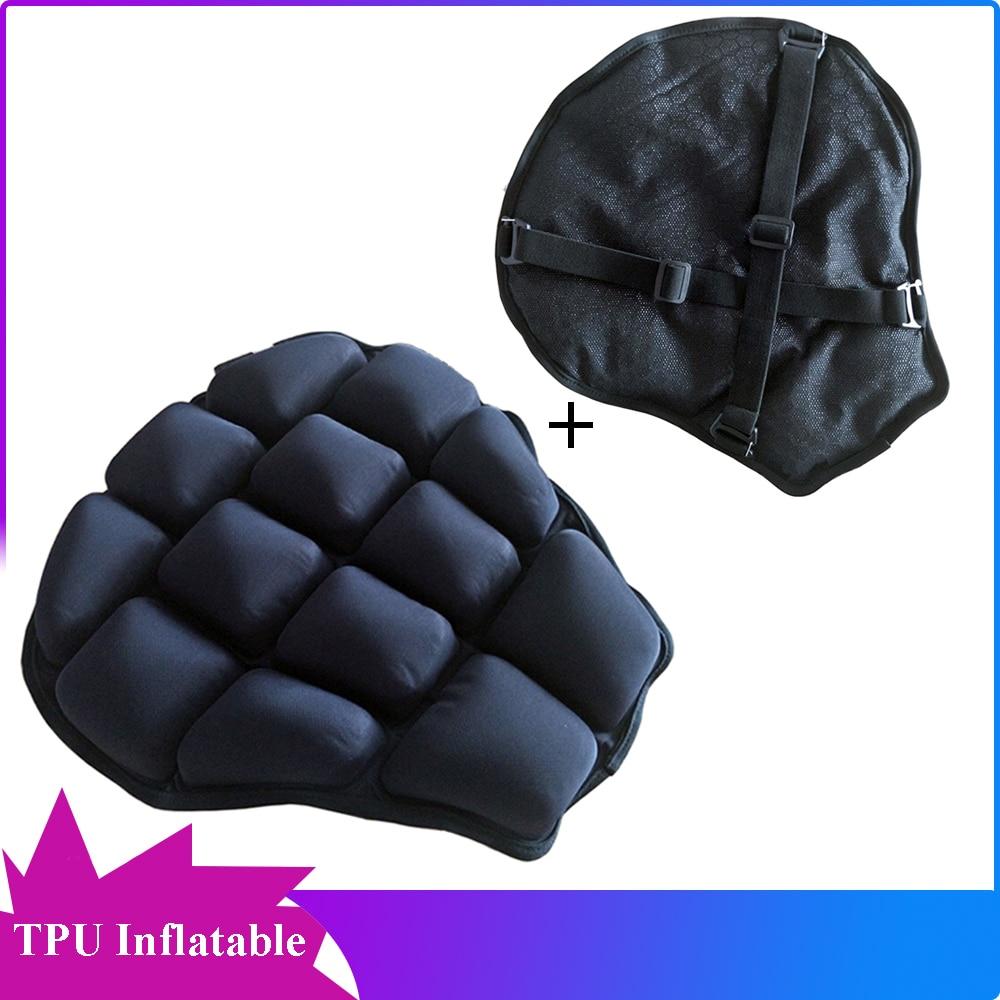 Asiento de aire suave de TPU 3D para motocicleta, cojín de aire, protector de enfriamiento inflable, impermeable con cubierta de protección solar de malla de nido de abeja