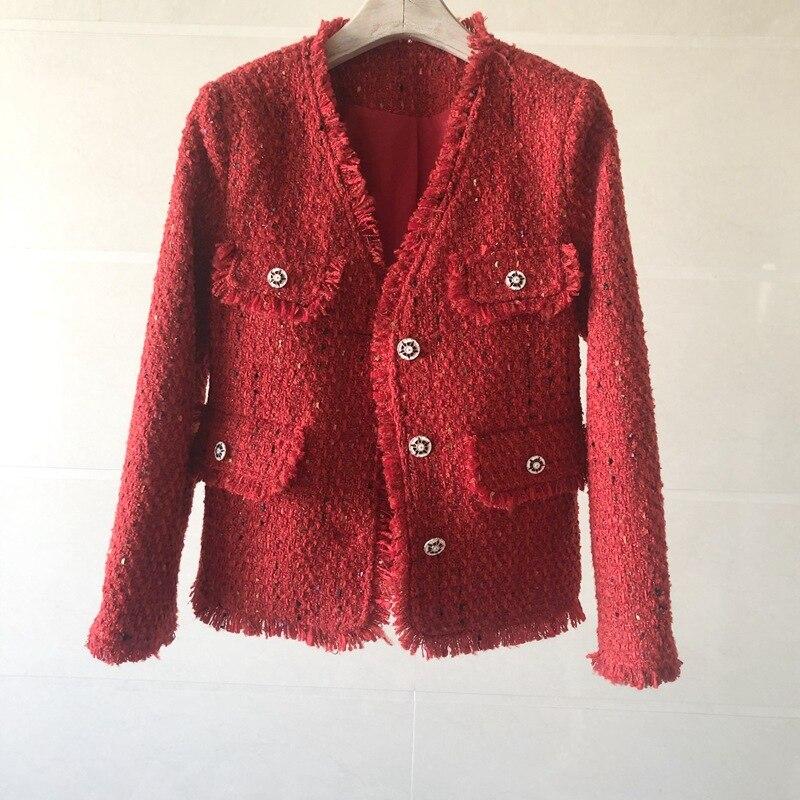 خياط مخزن حجم كبير الفرنسية ضوء السيدات الفاخرة مزاجه البنطال القصير الأحمر تويد الخامس الرقبة سترة معطف النساء الملابس