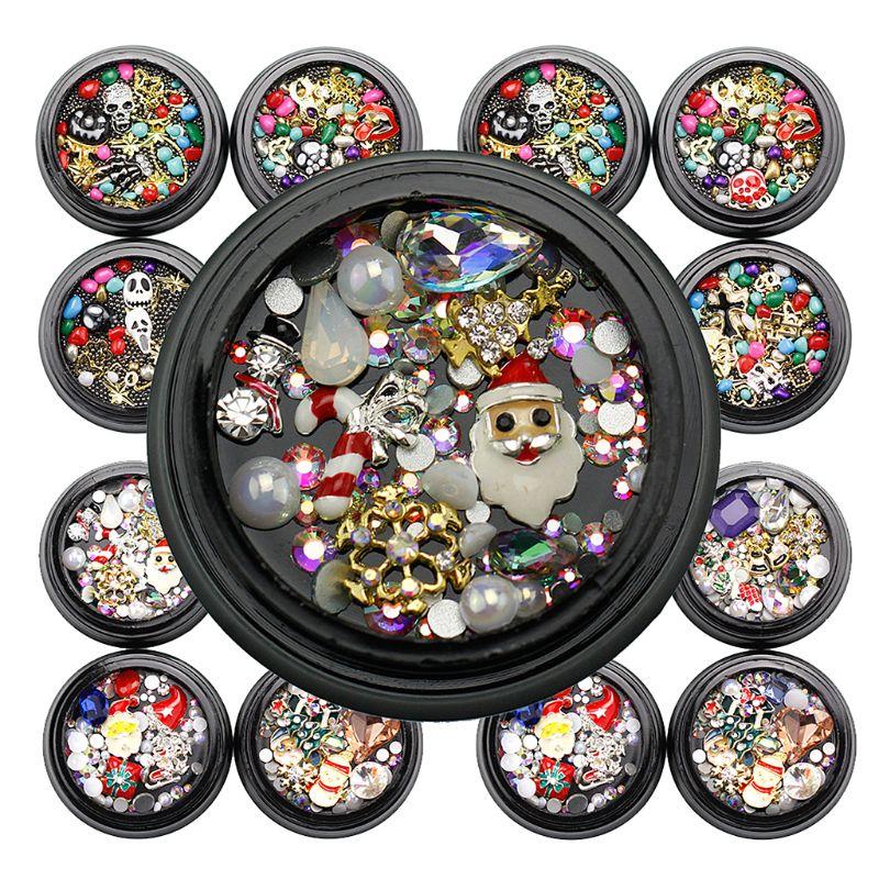 Weihnachten Faux Nägel Pailletten Metall 3D Nail art Weihnachten Halloween Urlaub Dekoration T4MB