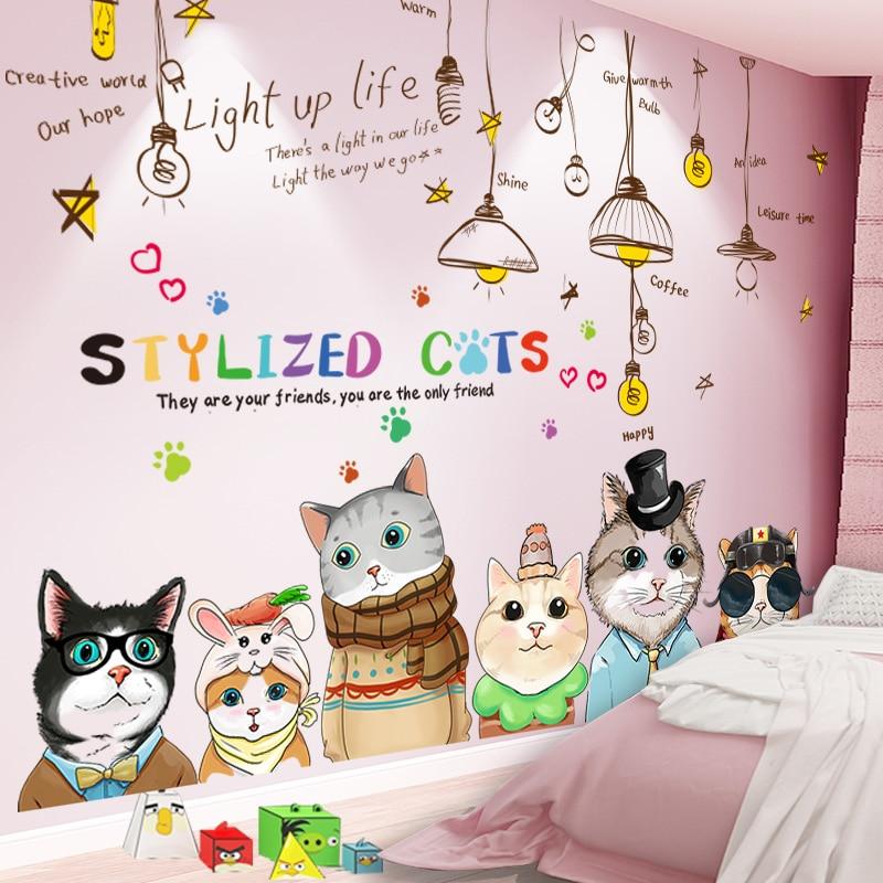 Shijuekongjian, pegatinas de pared de gatos de dibujos animados, pegatinas de pared de candelabro DIY para casa, habitación de niños, decoración de dormitorio de bebé