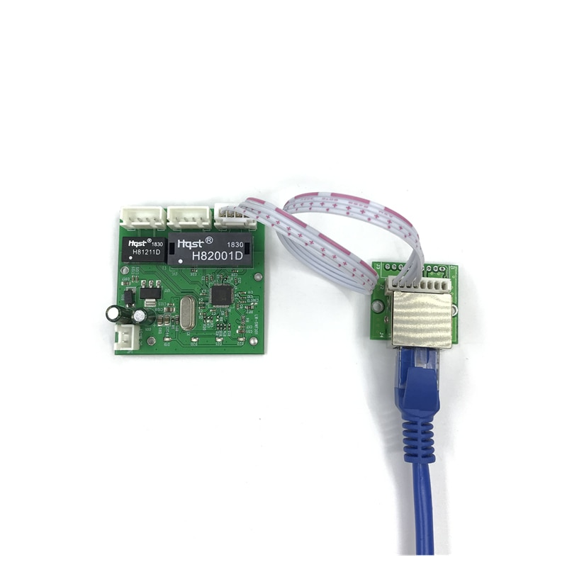 Módulo de interruptor de 3 puertos OME PCBA 4 Pin cabezal UTP PCBA módulo con pantalla LED agujero de tornillo posicionamiento Mini PC datos OEM fábrica