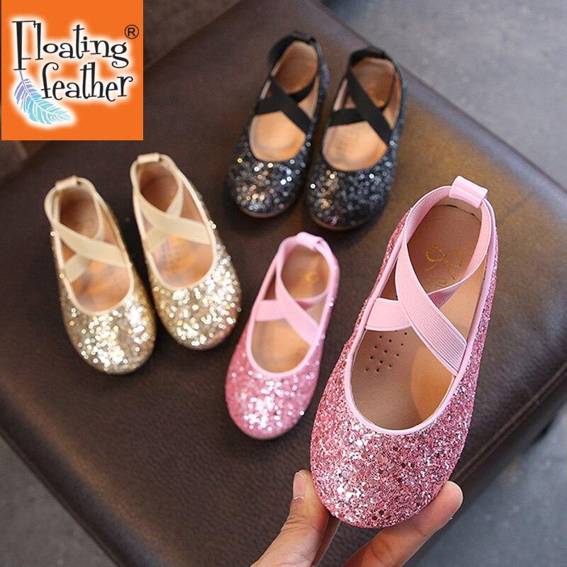 Балетки для девочек, детские танцевальные туфли для девочек, блестящие детские туфли, золотые блестящие туфли принцессы, детская обувь MCH026 туфли блестящие с цветочком темно синий