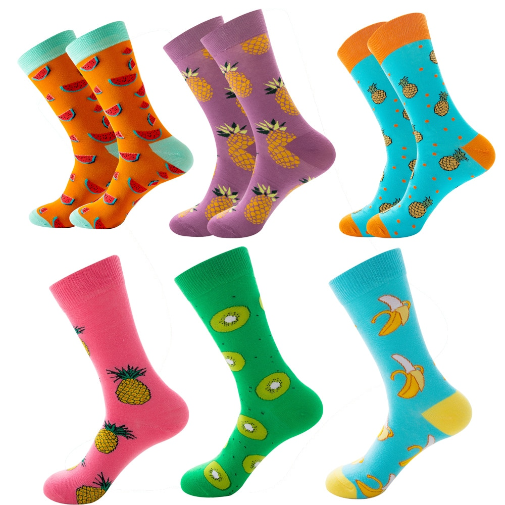 Women Daily Casual Wearing Combed Cotton Middle Tube Beautiful Lovely Fruit Print Pattern Socks for Teenage Girls