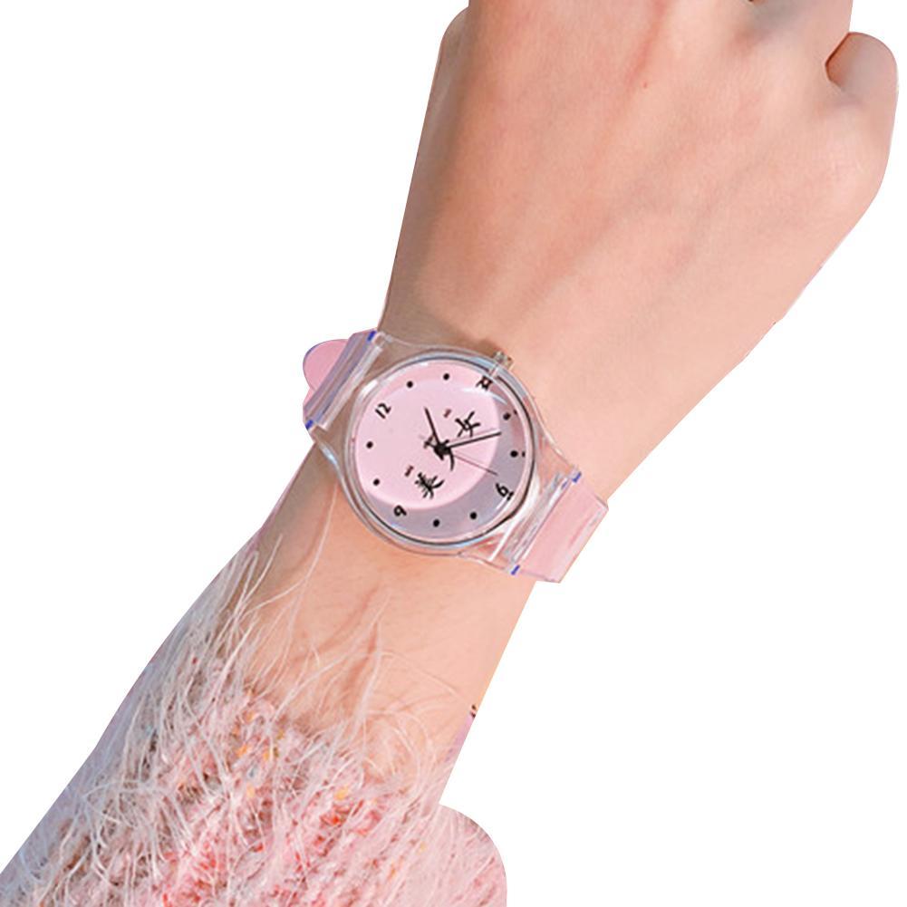 Bonito reloj de dibujos animados para mujer, Color fresco, caracter chino, esfera redonda de silicona, reloj de pulsera de cuarzo para mujer