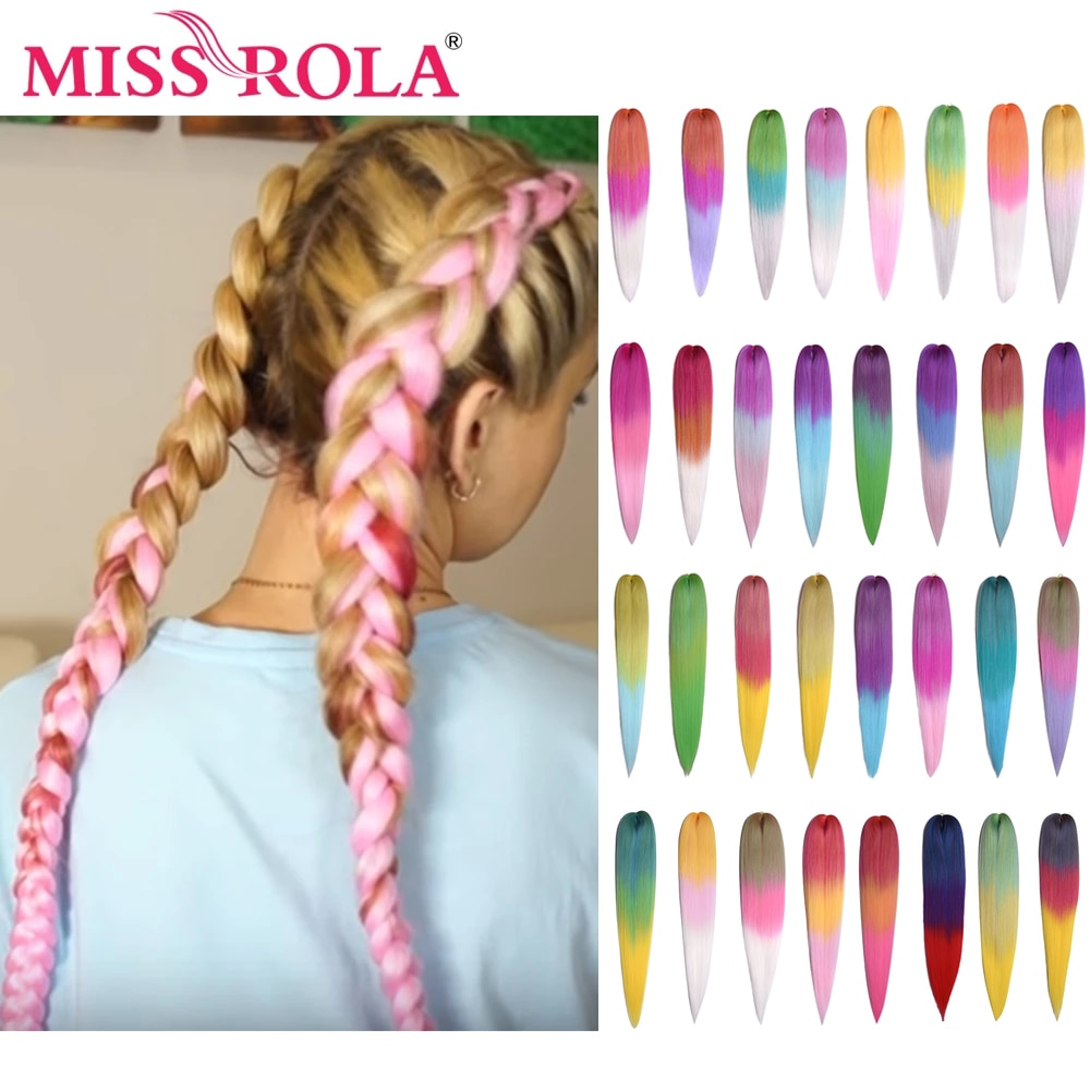 Miss Rola 75g 26 Inches Kanekalon Hair Wholesale Braid Synthetic Hair Extension Pre Stretched Pink Blonde Twist Jumbo Braid