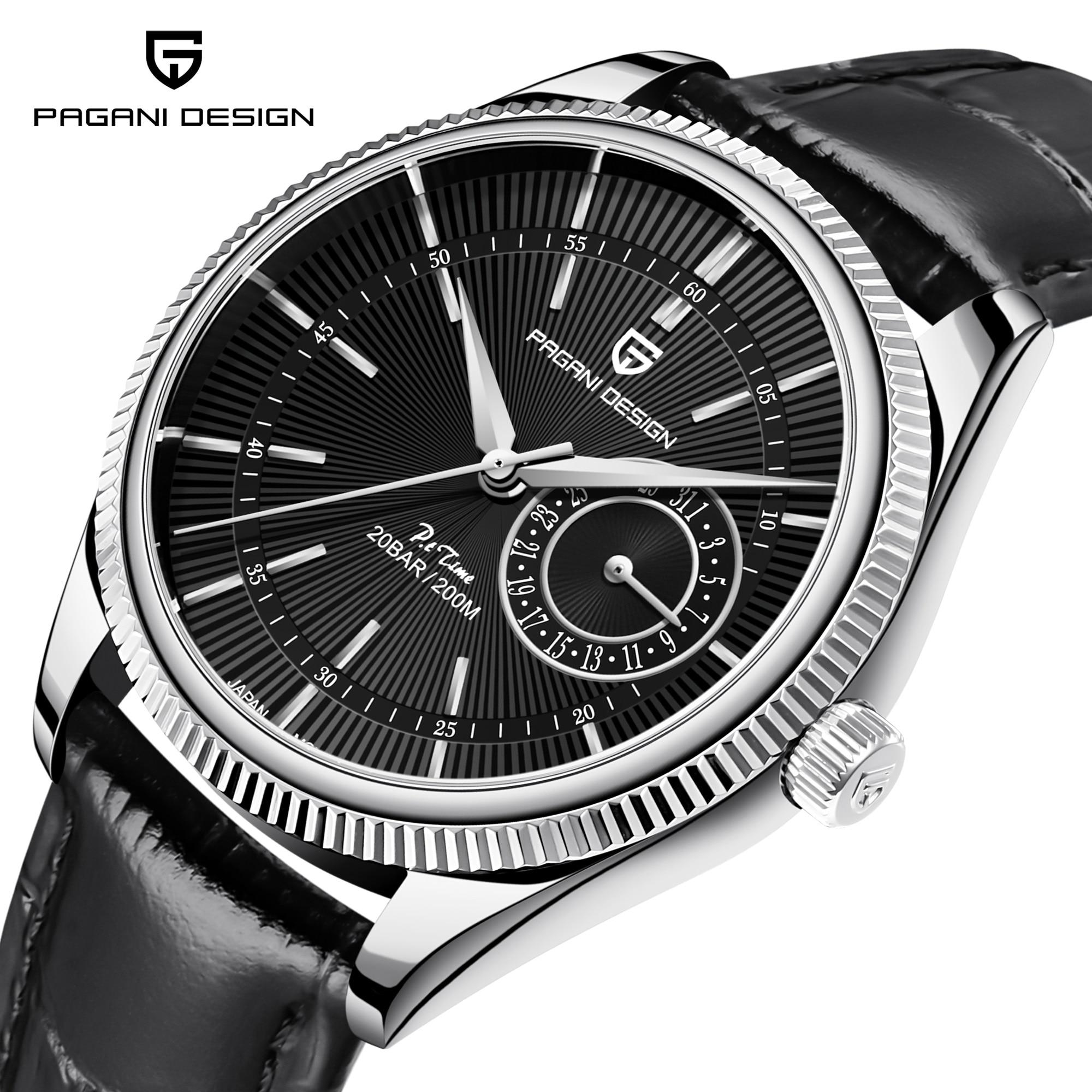 PAGANI تصميم ساعات كوارتز رجالية الياقوت الزجاج العلامة التجارية الفاخرة الساعات الرجال 2021 حزام جلدي أنيق 200 مقاوم للماء