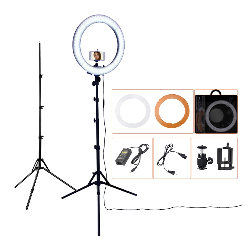 FOSOTO RL-18 фон для фотосъемки освещение с регулируемой яркостью 55W 5500K, кольцевая лампа Камера Photo Studio Phone видео светодиодная кольцевая лампа с т...