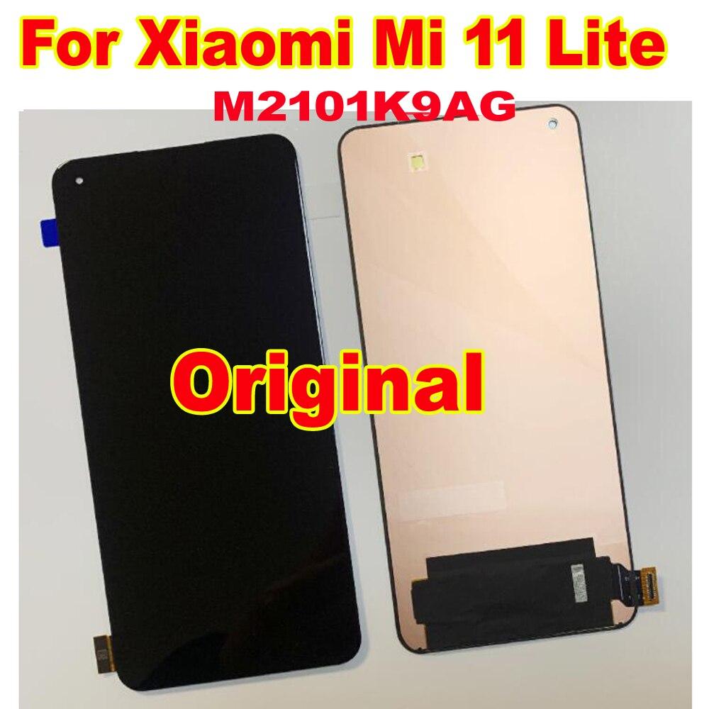 الأصلي والجديد AMOLED LCD عرض ل شاومي Mi 11 لايت M2101K9AG 5 جرام شاشة تعمل باللمس محول الأرقام الجمعية الاستشعار الهاتف بانتيلا أجزاء