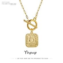 Yhpup-collier pendentif carré numérique, 5 chaînes, en cuivre doré, collier ras du cou, nouveau Design, 2020