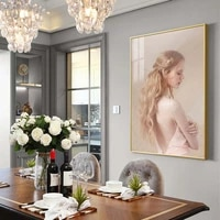 Mode moderne femme toile peinture robe blanche beaute mur Art affiches et impressions photos murales pour salon decor a la maison