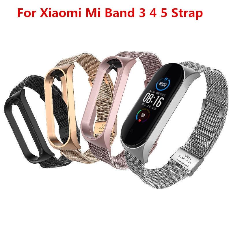 Correa para Xiaomi Mi Band 3 4 5 pulsera de Metal sin tornillos de acero inoxidable MIband para Mi Band 4 3 5 pulseras Pulseira