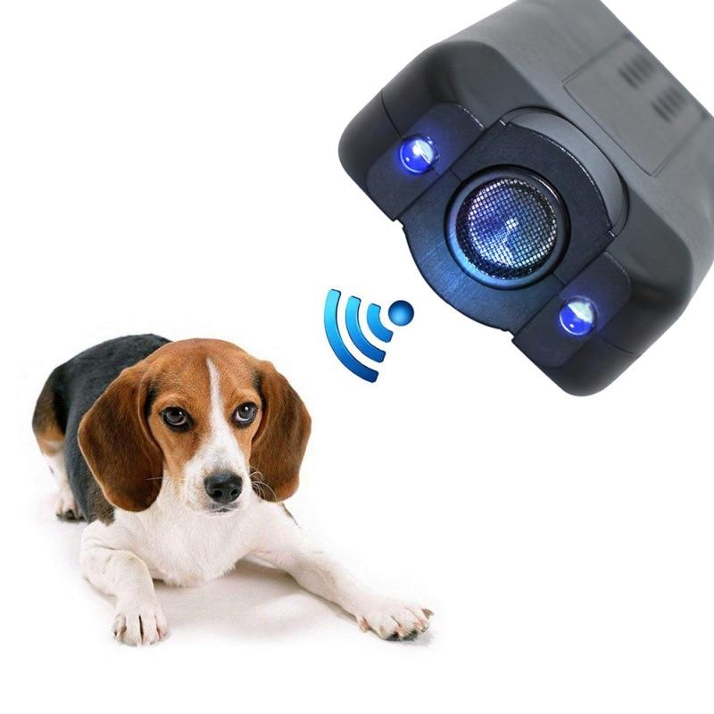Dispositivo contra ladridos repelente de ladridos para perros y mascotas, linterna repelente ultrasónico de perros con láser infrarrojo