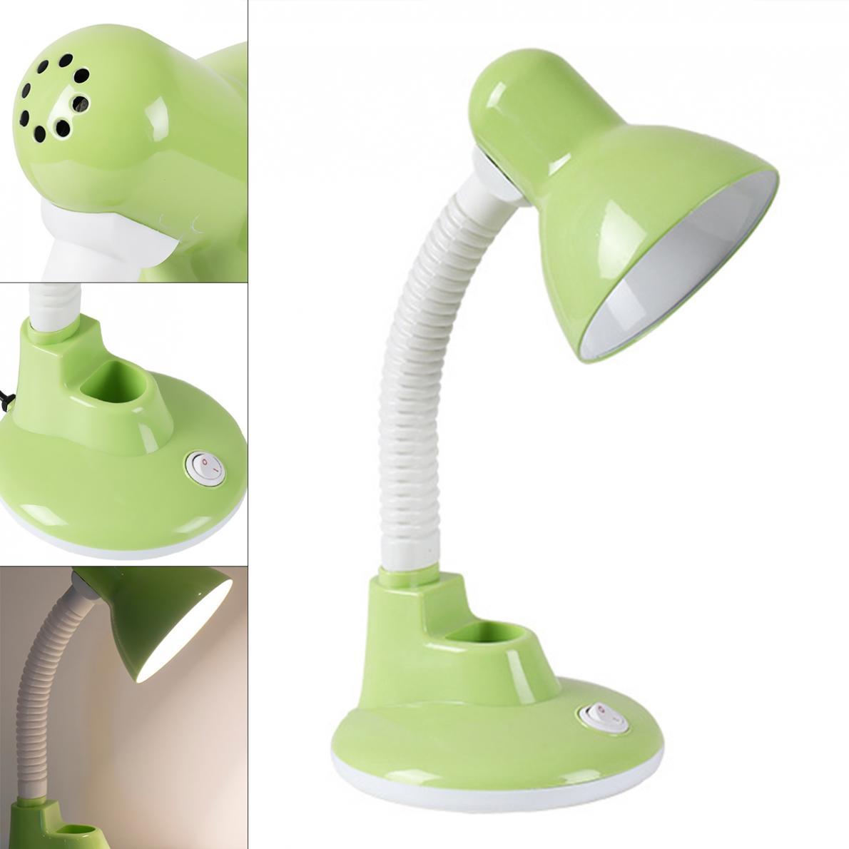 Lámpara de mesa LED E27 para el hogar, lámpara de escritorio portátil para estudio de aprendizaje de oficina con contenedor de bolígrafo para niños, oficina, cabecera