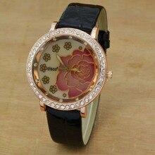 Luxury Women Wristwatches Ladies Watches Fashion Crystal Rose Flower Watches Leather Strap Quartz Wa