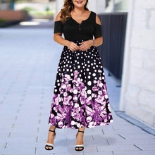 Plus Size Women's Casual Dress Elegant Print Floral Women Casual Summer Dress 2021 New Beach Dresses