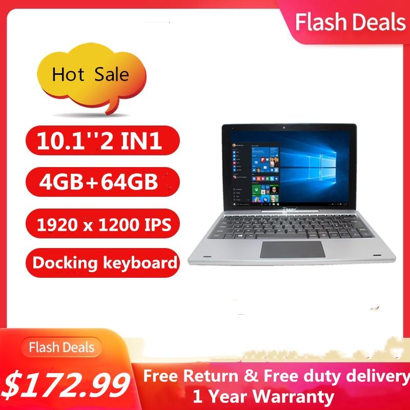 Hot Sales 10.1 INCH 2 IN1 Tablet 4G+64G WINDOWS 10 N3350 CPU PC 64 Bit  Dock Keyboard  1920 x 1200 IPS 8000mAh Free Earphone OTG