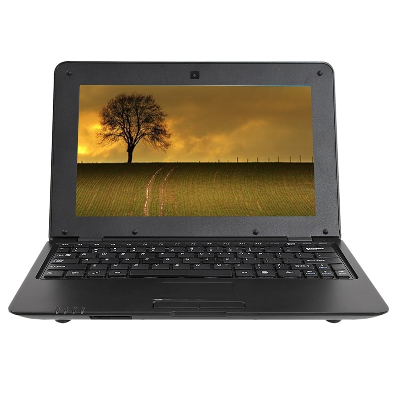 HD Portable 10.1Inch Quad Core Android System Without Optical Drive Mini Black Laptop Netbook(US Plu