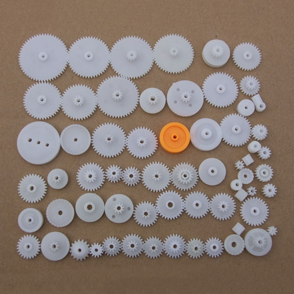 64 tipos de engranajes helicoidales de corona, conjunto de husillo DIY, accesorios de eje de ruedas, correa de una sola capa, polea en T, manga de eje, ciencia