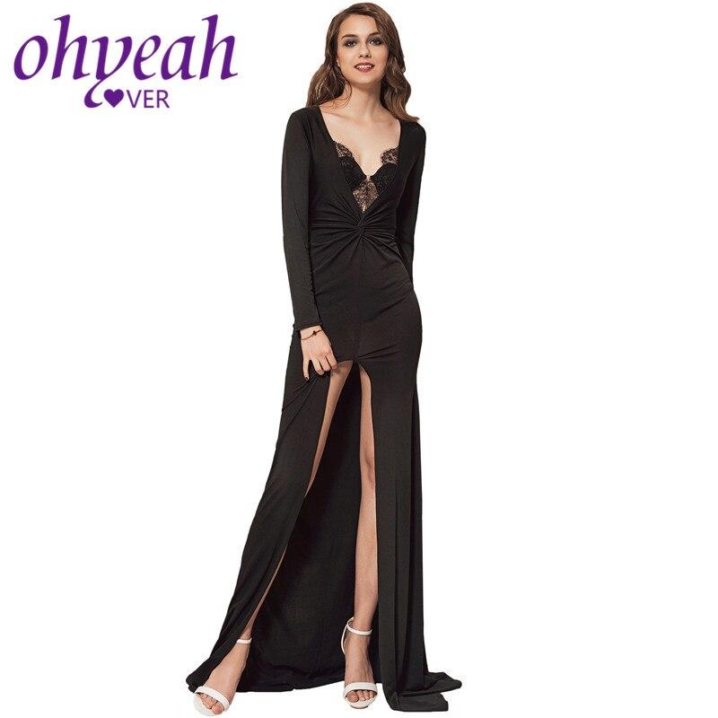 Ohyeahlover Maxi vestido con mangas largas cuello en V profundo encaje Sexy Vestidos Justo Mulher elegante de corte alto costura bata Longue VL1012