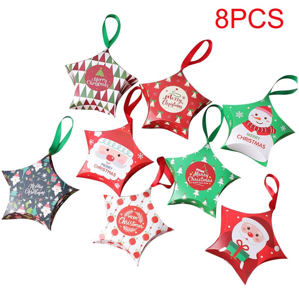 8 Uds. Caja de caramelo cartulina de Año Nuevo con forma de estrella para decoración de Navidad para niños 12x12x4cm árbol de fiesta colgante con cinta para el hogar