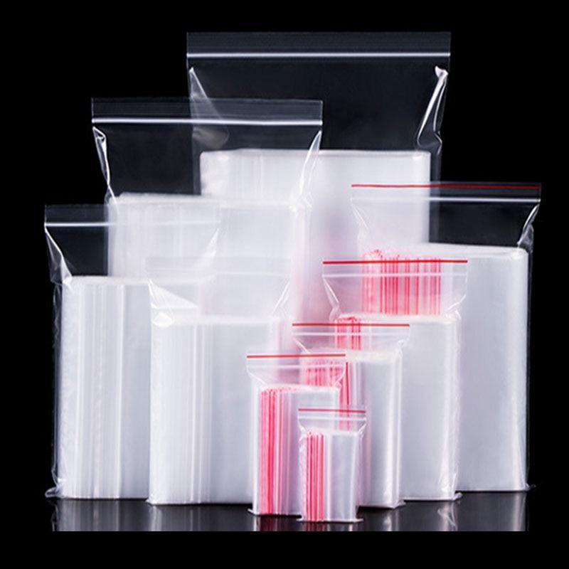 100 шт пластиковые пакеты Ziplock упаковка для пищевых продуктов ювелирные изделия небольшой замок типа молния мешки прозрачный свежий-сохраняя пылезащитный Resealable конфеты StorageBag