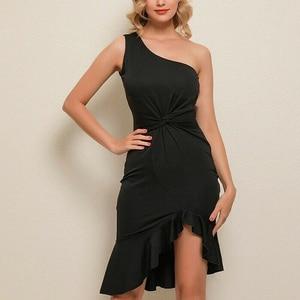 Hot Sleeveless Oblique Shoulder Irregular Dress Solid Color Party Dresses Dress For Women Casual Elegant Evening MVI-ing