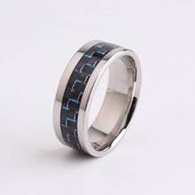 8mm blue Carbon fiber 316L Stainless Steel finger rings for men  wholesale