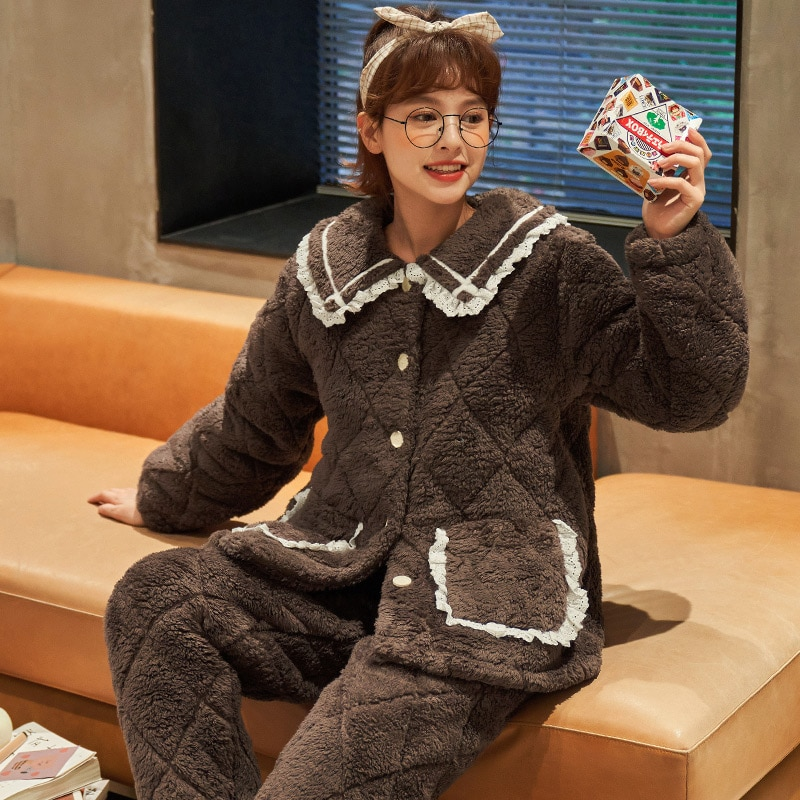 Inverno Quente Feminino Engrossado Coral Veludo Flanela Housewear Três Camada Pijamas Conjunto