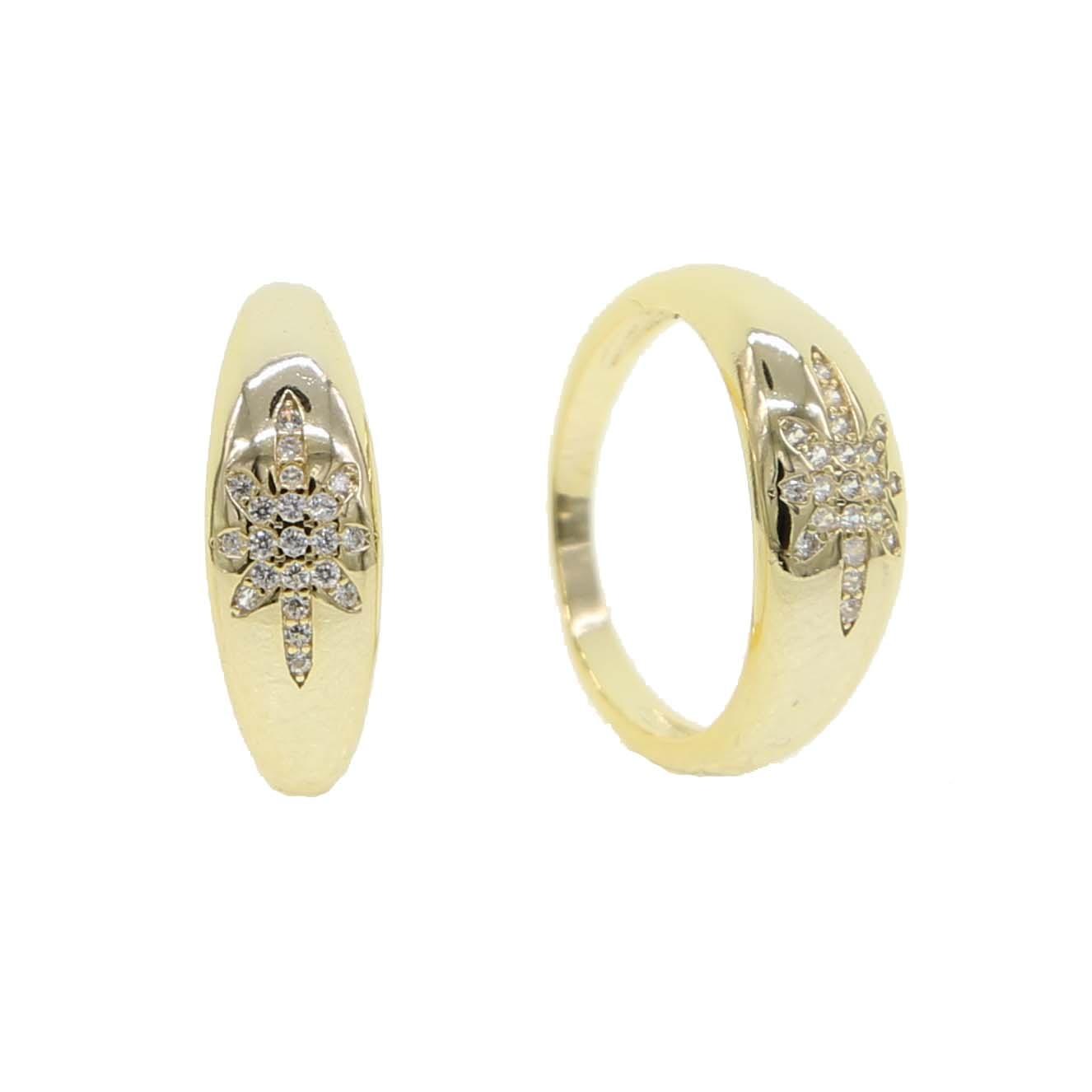 Bonito mulheres de noivado casamento jóias dedo anelar com a Simples North Star starburst ouro Signet anéis da faixa de cor com clear CZ