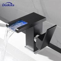 Смеситель для раковины ванной со светодиодной подсветкой, кран горячей и холодной воды с одной ручкой и сменой цвета RGB, питание от потока во...